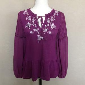 WHBM Purple & White Embroidered Boho Blouse